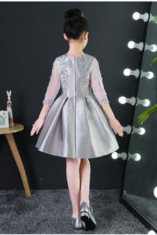 Vestido niña ceremonia Satén Corte-A Falta Capa de encaje Mangas Illusion