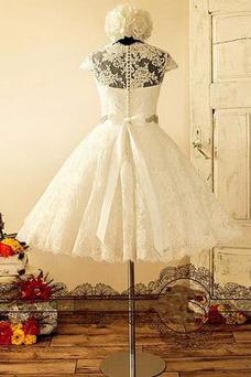 Vestido de novia Botón Manga corta Barco Fuera de casa Cremallera Natural