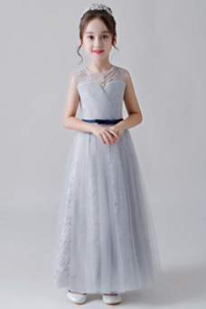 Vestido niña ceremonia tul Hasta el Tobillo Encaje Natural Arco Acentuado