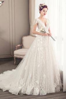 Vestido de novia Escote en V Natural largo Manga tapada tul Cremallera