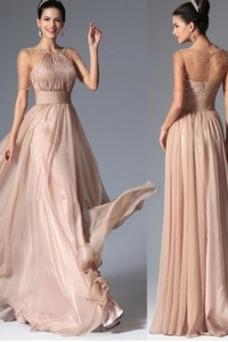 Vestido de noche primavera Corte-A Pura espalda Falta Abalorio Hasta el suelo