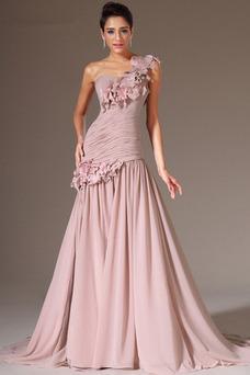 Vestido de noche Rosetón Acentuado Cremallera Corte Recto Blusa plisada