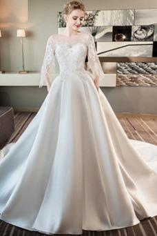 Vestido de novia Espalda con ojo de cerradura Satén largo Hinchado Mangas Illusion