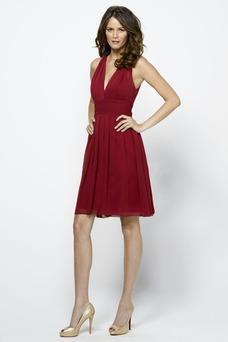 Vestido de dama de honor Natural Rojo Oscuro Hasta la Rodilla Corte Recto Glamouroso