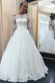 Vestido de novia Corte-A Escote con Hombros caídos Hasta el suelo Capa de encaje
