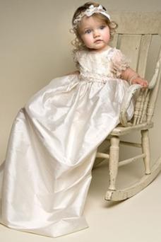 Vestido de Bautizo Corte princesa Apliques Manga Globa Alto cubierto Joya