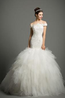 Vestido de novia Corte Sirena Elegante Sin mangas Natural Apliques Escote con Hombros caídos