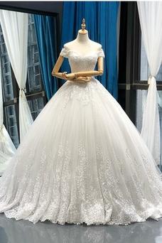 Vestido de novia Encaje Capa de encaje Natural Sin mangas Escote con Hombros caídos