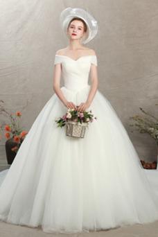 Vestido de novia Blusa plisada Cordón Drapeado tul Triángulo Invertido