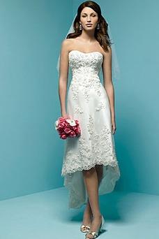 Vestido de novia Cremallera Asimètrico Encaje Informal Asimétrico Dobladillo