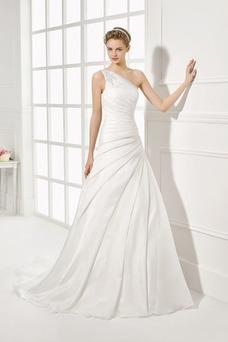 Vestido de novia Sencillo Cintura Baja Cremallera Corte-A largo Un sólo hombro