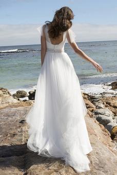 Vestido de novia Cola Capilla Mangas Illusion Corte-A Natural Perlas