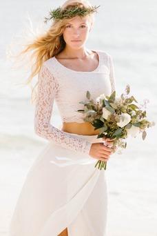 Vestido de novia Manga larga 2 piezas Verano Alto cubierto Fajas Gasa