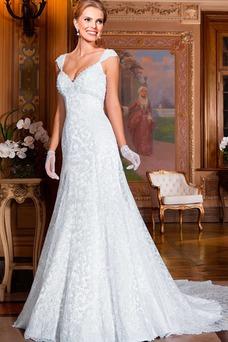 Vestido de novia largo tul Alto cubierto Manga corta primavera Escote en V