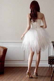 Vestido de novia Corto Asimètrico Natural Cordón Informal Escote Corazón