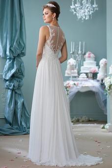 Vestido de novia Apliques Natural Cola Barriba Joya Corte-A Cremallera