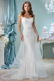 Vestido de novia Playa tul Natural Corte-A Fajas Elegante