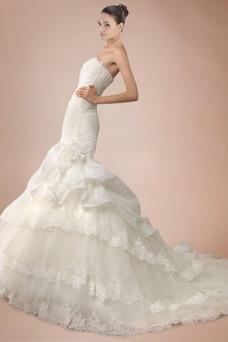 Vestido de novia Otoño Cola Capilla Imperio Cintura Encaje Sala Escalonado