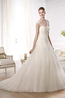 Vestido de novia Abalorio Con velo Encaje Iglesia Sin mangas Corte-A