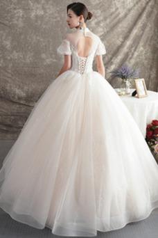 Vestido de novia Manga corta Natural Iglesia Corte-A Falta Organza
