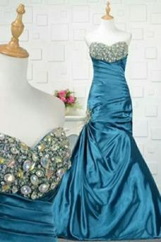 Vestido de noche largo Invierno Escote Corazón Elegante Satén Elástico
