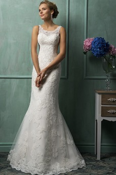 Vestido de novia Corte Sirena Escote redondo Apliques Natural tul Sin mangas