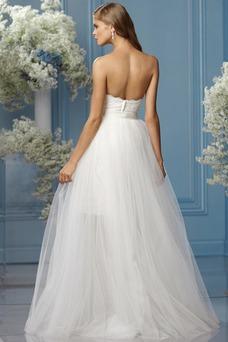 Vestido de novia tul Fajas Sin mangas Asimètrico Fuera de casa largo