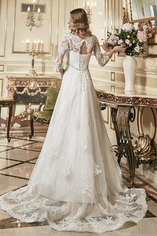 Vestido de novia Encaje Mangas Illusion Encaje Escote en V Espalda con ojo de cerradura