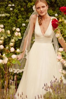 Vestido de novia Informal Apliques Sin mangas Espalda Descubierta Natural