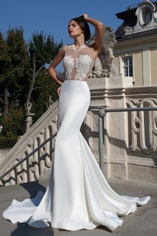 Vestido de novia Fuera de casa Apliques Sin mangas largo Encaje Natural