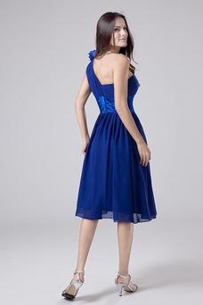 Vestido de dama de honor Sin mangas Verano zafiro Triángulo Invertido Blusa plisada