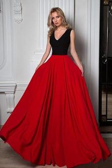 Vestido de noche Formal Falta Cremallera Escote en V Oscilación Corte-A