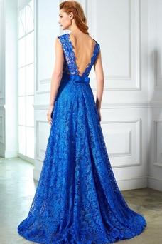 Vestido de noche Capa de encaje Formal Natural Corte-A Lazos Encaje