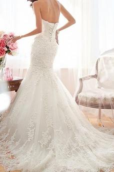 Vestido de novia Corte Sirena Sin tirantes Falta Cordón Otoño Encaje
