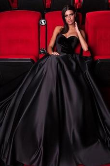 Vestido de fiesta Natural largo Cremallera Satén Corte-A Escote Corazón