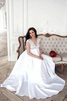 Vestido de novia Embarazadas Imperio Cintura Perlas Encaje Baja escote en V