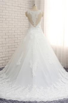 Vestido de novia Espalda medio descubierto Corte-A Tallas grandes Sin mangas