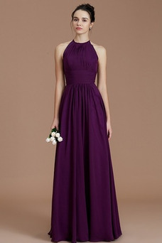 Vestido de dama de honor Joya Corte-A Elegante primavera largo Cremallera