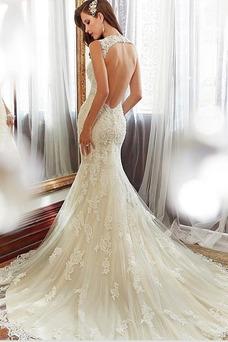 Vestido de novia Espalda medio descubierto Escote Corazón largo Encaje