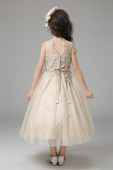 Vestido niña ceremonia Lazos Encaje Arco Acentuado Verano Sin mangas Natural