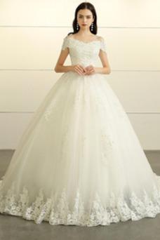 Vestido de novia Escote con Hombros caídos Espalda Descubierta Falta