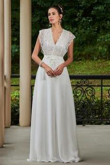Vestido de novia Hasta el suelo Elegante Espalda con ojo de cerradura