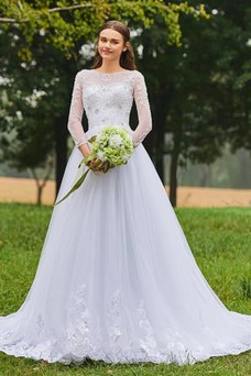 Vestido de novia Manga larga Mangas Illusion tul Corte-A Pura espalda