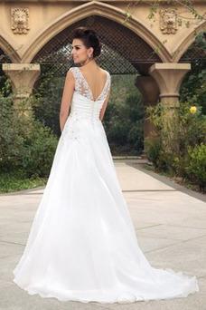 Vestido de novia largo Barco Elegante Blusa plisada Espalda Descubierta