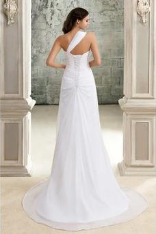 Vestido de novia Un tirante con flor Natural Arco Acentuado Plisado