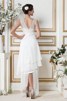 Vestido de novia Asimétrico Dobladillo Apliques Sin mangas Otoño Natural