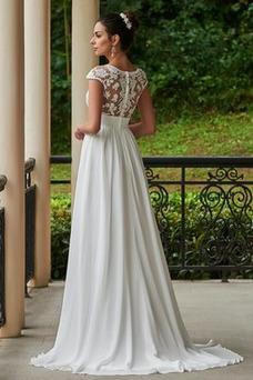 Vestido de novia Encaje Cola Capilla Manga corta Pura espalda Encaje
