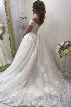 Vestido de novia Manga corta largo Escote con Hombros caídos Playa tul