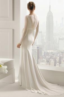 Vestido de novia Corte Sirena Cola Barriba Elegante Drapeado Camiseta