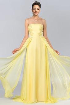 Vestido de fiesta Gasa Sin mangas Moderno Drapeado Cremallera Natural